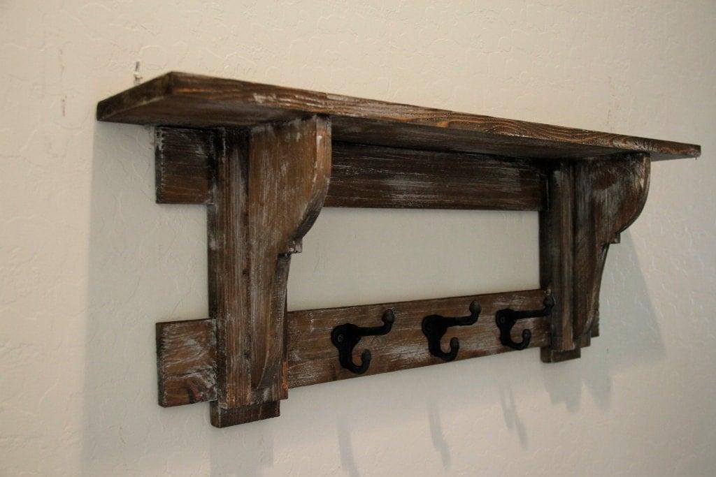 Primitive coat rack rustic wall shelf primitive wall shelf for Porte western ikea