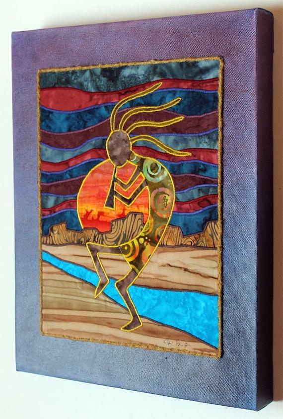 Kokopelli Native American Southwest art Art quilt on