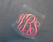 Monogram Comfort Colors Long Sleeve GREY Pocket Tee  Font shown MASTER CIRCLE in bright pink