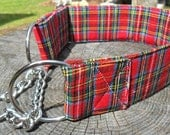 This bright red plaid, medium-size chain/training martingale dog collar will look very stylish on your favorite dog.