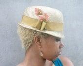 Ladies' Gold-Bronze-Khaki Trendy Straw Hat - Derby-Bowler--Custom Only- Small Brim, Vintage Ribbon and Velvet leaf Detail, detachable veil
