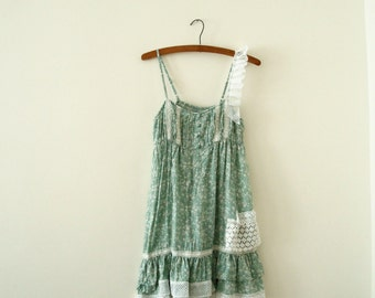 Minty Top Tunic Upcycled Woman's Clothing Romantic Eco Style Summer Fashion Doll Fairy Gown Handmade in UK OOAK