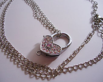 Handmade Heart Shape Necklace. Open and Close.White Sparkling Transparent