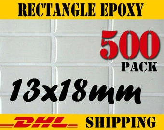 500 pcs. Rectangle 13x18 mm Clear Epoxy Stickers