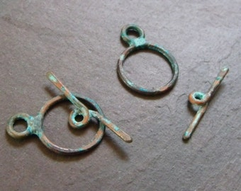 Handmade 20x15mm Flat Hammered Copper 16ga Toggle Clasps with Patina - MADE TO ORDER