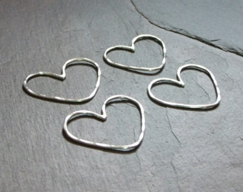Handmade 3/4x1 Inch Hammered 18ga Sterling Silver Heart Links - MADE TO ORDER