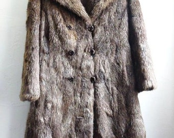 Vintage GENUINE FUR COAT,  French, Long, Brown Coat. Authentic Fur by Roger Gerko in Paris.