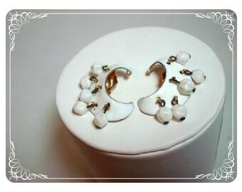 White Cresent Clip Earrings w dangles E428a-040812000