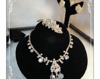 Rhinestone Crystal Juliana Parure  Dripping Crystal and Rhinestones D&E 988a-0610013000