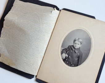 Vintage Portrait of Boy in Suit Jacket Portrait Booklet Victorian