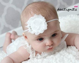Girls Hair Accessories-White-Shabby -Flower Headband-Baptism-Christening-Wedding-Bridal-Flowers for Hair-Bridesmaid-Flower Girl