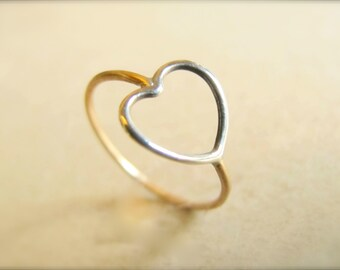 Heart Ring in Gold and Silver - Love ring