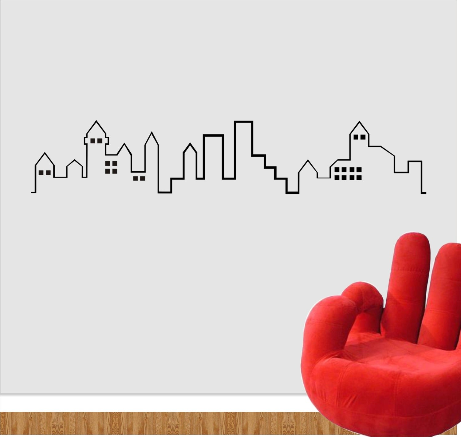 City Outline Wall Decal City Wall Vinyl Sticker City - Wall decals city