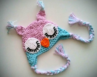 Owl Crochet Hat with Ear flaps for Baby Girl - Sleepy Owl Crochet Hat  - Baby Girl Owl Hat - Newborn Photo Prop