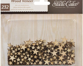 Wood Veneer Shapes TINY Stars  -  by Studio Calico-232/Pkg