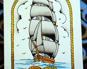 Ship with rope Watercolor painting Tattoo Flash Art Original