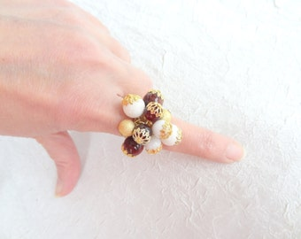 White&Brown Agate Stone Ring,  Gold Ring, Wedding Jewelry, Bridal Ring, Bridal Gifts