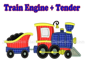 Train Engine and Tender Applique Machine Embroidery Design boy blue red INSTANT DOWNLOAD