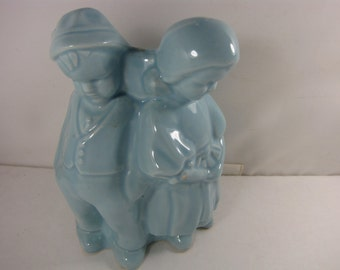 Beautiful Vintage Baby Blue Ceramic Vase or Planter from the 1940s