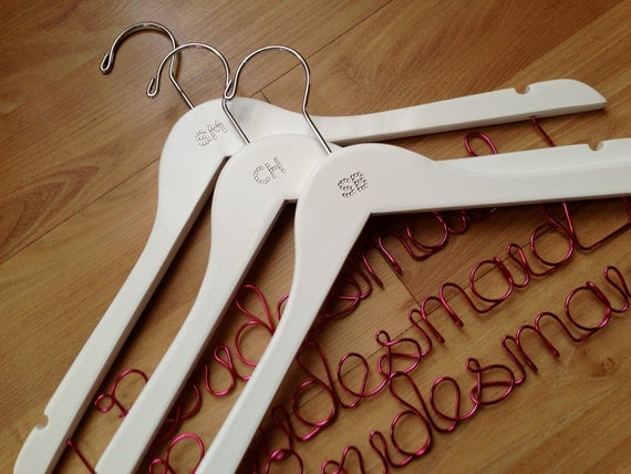 """Diamante or pearl initial """"Bridesmaid/Maid of honour"""" wedding hangers - personalised with that gorgeous BLING touch"""