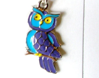 Owl necklace, Enameled Blue and violet  Owl Charm Free Shipping
