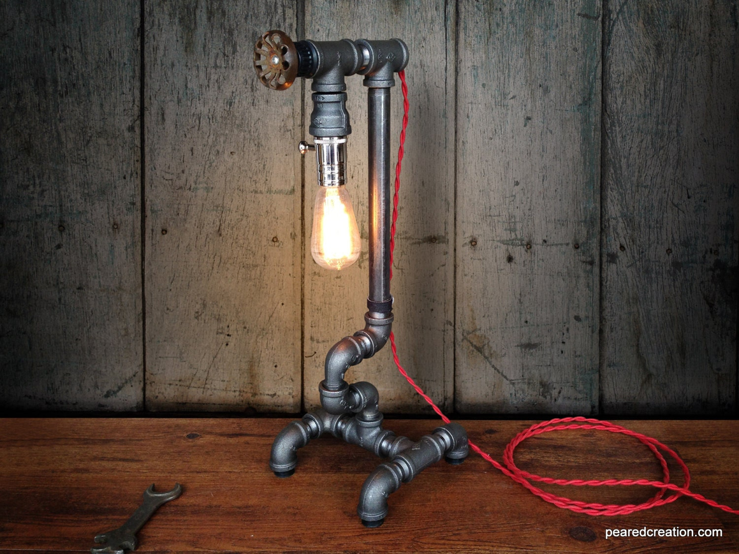 Edison light plumbing pipe steampunk art by newwineoldbottles for Painting black iron pipe