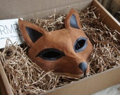 Suede Fox Mask with Long Leather ties