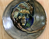 Handmade Ceramic plate/bowl  Facemask with glass  Wall art