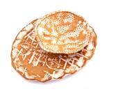 Ceramic Sushi Appetizer Serving Plate,Cream and White, Nesting Set