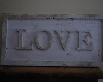 White Barnwood Love Sign Home Decor Shabby Chic