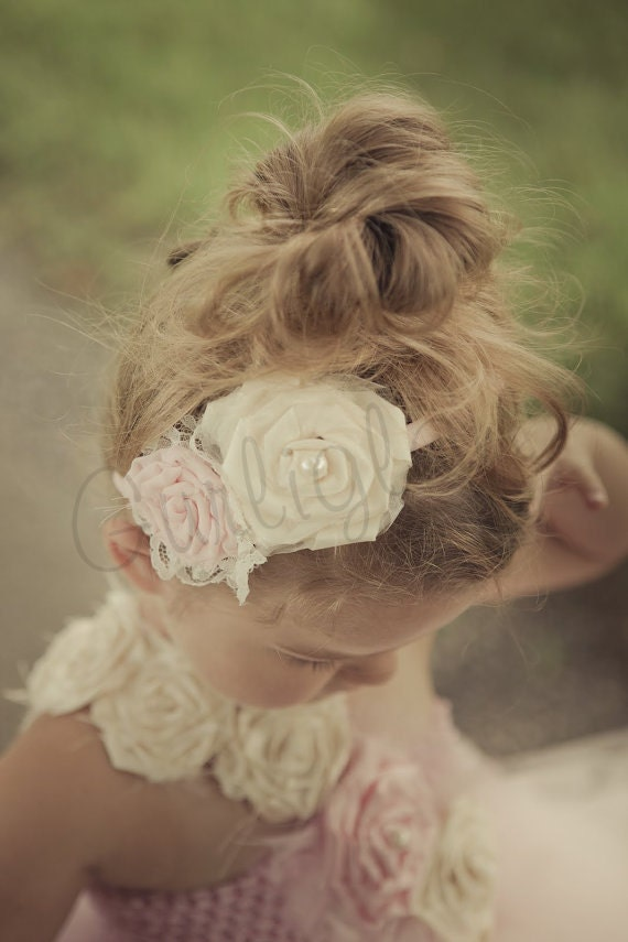 Light Pink and Ivory Flower headband, Vintage, Flower girl headband, light pink
