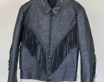 vintage women's black leather fringe jacket biker style