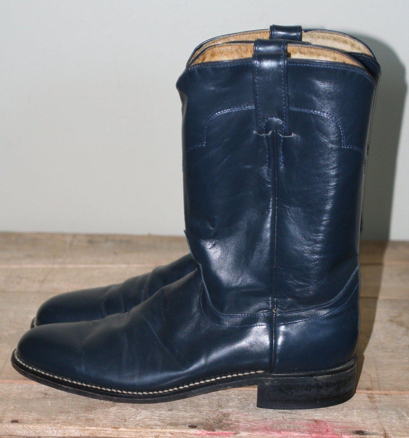 Vintage Navy Blue Justin Roper Boots Womens Size 8 5a