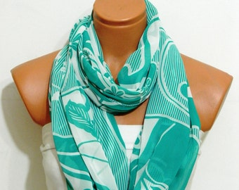 Valentines Day Sale - Mint Chiffon scarf,loop Scarf,Infinity Scarf,Circle Scarf,.Ultra soft..Cowl...Nomad Tube..flowers scarf