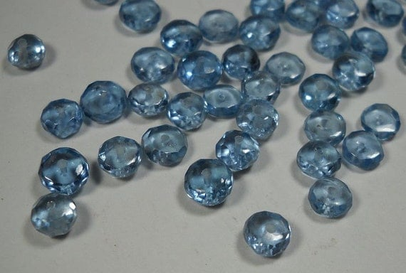 Natural Swiss Topaz  Micro Faceted Rondelle Beads 5mm - 6mm