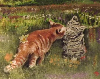 Kissing cats - Greeting card