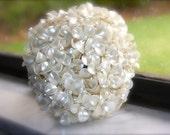 custom pearl wedding bouquet that is a bridal bouquet alternative and beach  wedding bouquet ivory bouquet