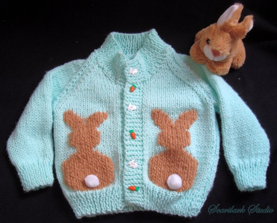 Knitting Pattern For Peter Rabbit Jumper : Items similar to Childs Hand Knitted Sweater, Peter Rabbit. Bunny, Mint ...