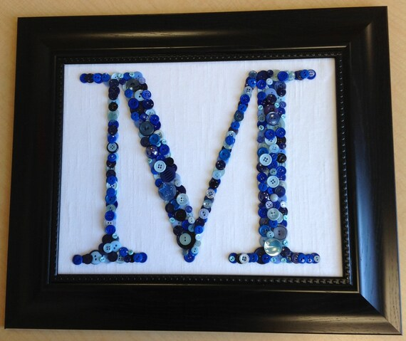 Items Similar To Framed Button Letter M On Etsy
