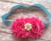 pink and aqua headband.....aqua headband....photography prop....newborn prop