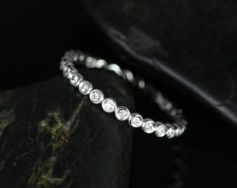 Petite Bubbles 14kt White Gold WITHOUT Milgrain Diamond FULL Eternity Band (Available in Diamonds and Other Metals)