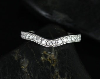 14kt White Gold Matching Band to Daria Hand Engraved Diamond HALFWAY Band (Other Metals Available)