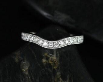 Rosados Box 14kt White Gold Matching Band to Daria Hand Engraved Diamond HALFWAY Band