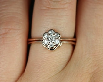 Daisy 14kt Rose Gold Diamond WITHOUT Milgrain Flower Cluster Wedding Set (Other Metal Options Available)