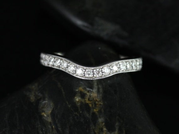 14kt White Gold Matching Band to Daria Hand Engraved  Diamond Curved Band (Other Metals Available)