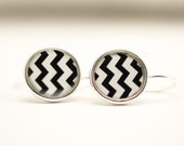Chevron Earrings | Black & White Chevron Earrings | Striped Earrings