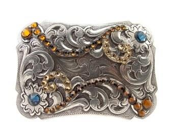 """Engraved Amber Crystal Trophy Belt Buckle 1 1/2"""""""