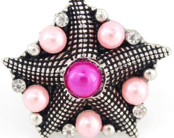 New Gold-tone Pink Pearl/Crystal Sea Star Ring,Size Adjustable