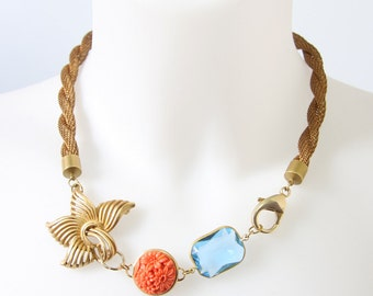 Glamorous Pale Blue and Orange Coral Necklace with Vintage Chain and Beads