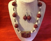 Handmade necklace and earring set, red creek jasper banner pendant, white turquoise, and gold pyrite